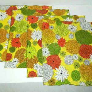 Other - 4 Vintage 70s Fabric Retro Floral Napkins